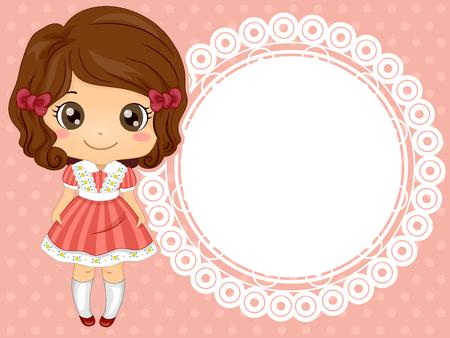 little girl dress: Frame Illustration of a Cute Little Girl in a Frilly Dress