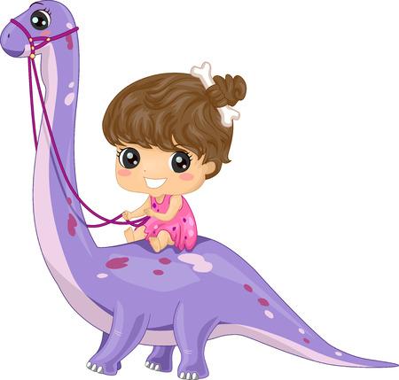 ブロントサウルスに乗って洞窟の女性として服を着た女の子のイラスト 写真素材