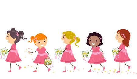 Stickman Illustration of Little Girls Carrying Bouquets of Flowers