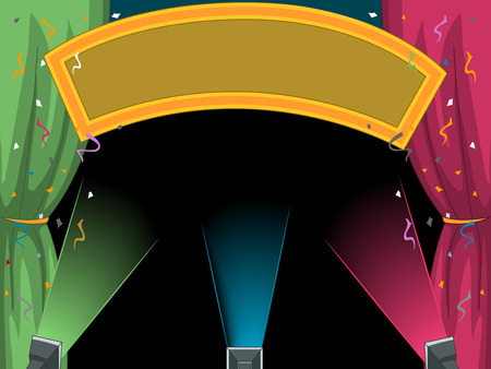 Illustration of a Blank Festival Banner Illuminated by Stage Lights Stock Photo