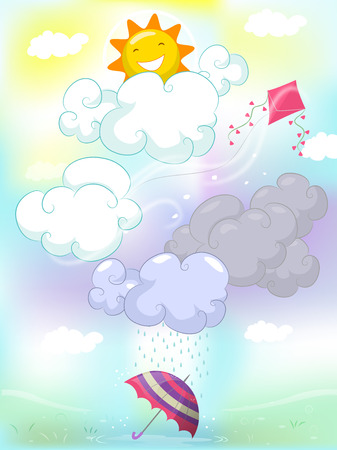 sunny: Colorful Illustration Featuring Different Types of Weather