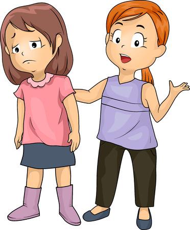 Illustratie van een Meisje Emphatizing met een ander