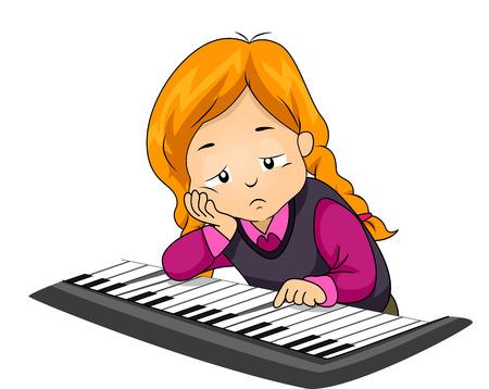 tocando piano: Ilustración de una niña aburrido jugar con el piano