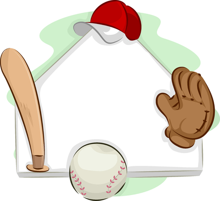 team game: Frame Illustration Featuring a Set of Baseball Gear