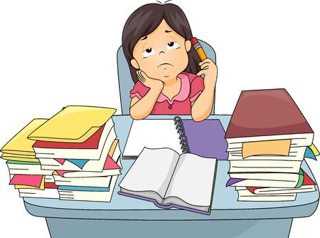 estudiando: Ilustración de una niña se aburran mientras que estudia Foto de archivo