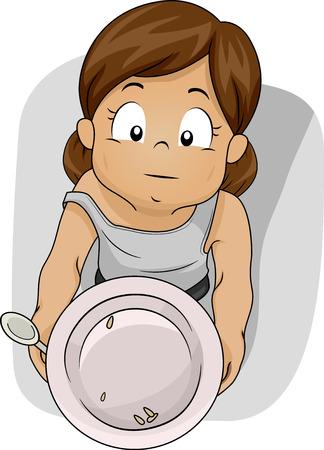 Illustrazione di una Elemosina Shabby Girl per Prodotti alimentari Archivio Fotografico - 62119853