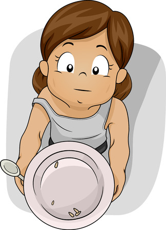 Illustration of a Shabby Girl Begging for Food