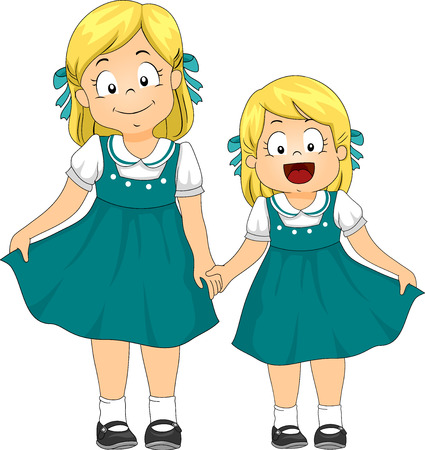 sisters: Illustration of a Pair of Sisters Dressed in Matching Vintage Dresses Stock Photo