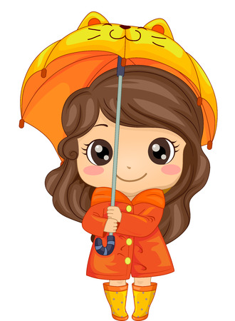 rainy days: Illustration of a Cute Girl Wearing an Orange Raincoat