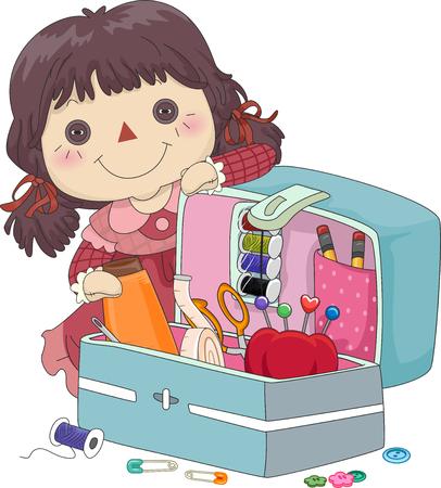 rag doll: Illustration of a Female Rag Doll Presenting a Sewing Kit