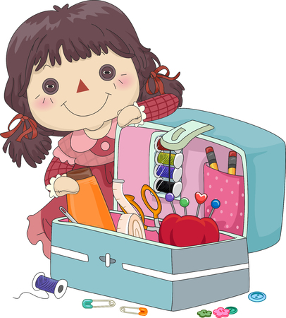 kit de costura: Ilustración de una muñeca de trapo Mujer La presentación de un kit de costura