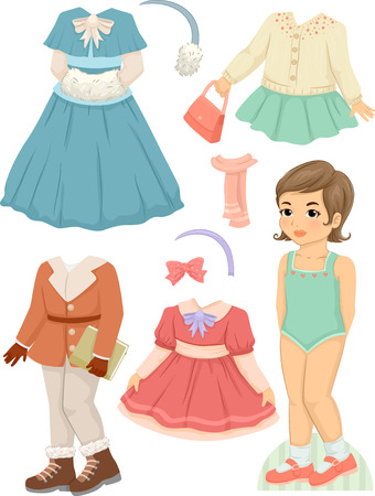 Illustration Featuring a Paper Doll and a Set of Winter Clothes Stock Photo
