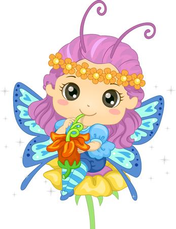 schooler: Illustration of a Little Girl Sipping Pollen