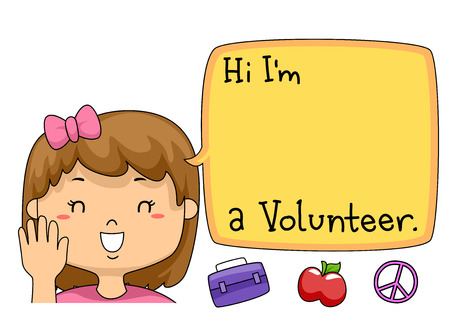 introducing: Illustration of a Young Volunteer Introducing Herself