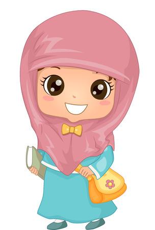 schooler: Illustration of a Muslim Girl in Hijab Walking to School