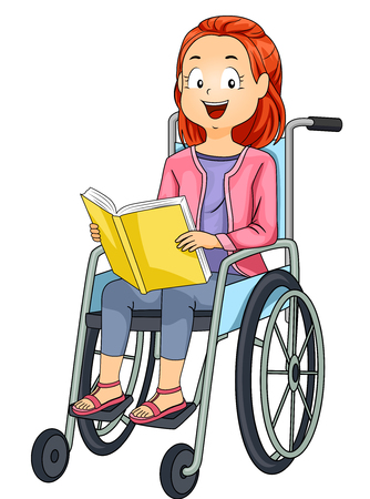 schooler: Illustration of a Little Girl in a Wheelchair Reading a Book Stock Photo