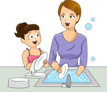 piatto: Illustrazione di una bambina e la madre Lavare i piatti insieme Archivio Fotografico