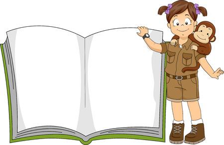 Illustrazione di una bambina in un Safari Outfit in piedi accanto a un libro gigante