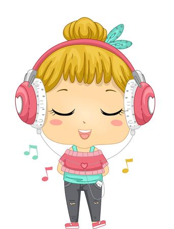 그녀의 음악 플레이어에서 음악을 듣고 어린 소녀의 그림 스톡 콘텐츠
