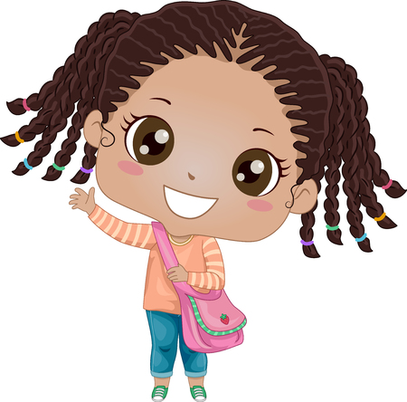 children art: Illustration of an African Girl Eagerly Waving Goodbye