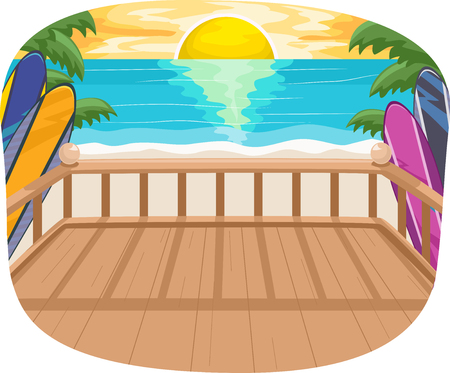 balcony: Illustration of the Setting Sun as Seen from the Balcony of a Beach House