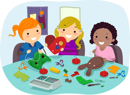 Stickman Illustration of Little Girls Making Party Crafts Stock Photo