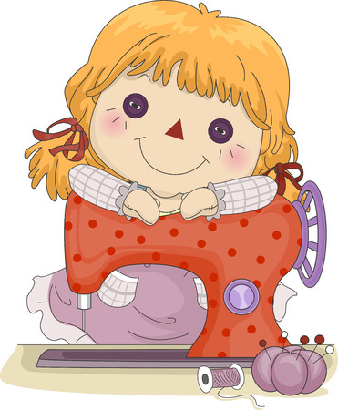 Illustration of a Female Rag Doll Leaning Against a Sewing Machine Stock Photo