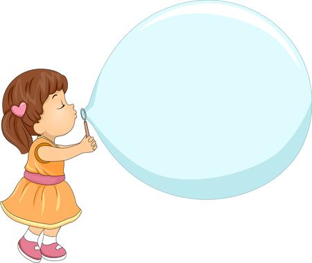jabon: Ilustración de un Niña que hace una burbuja de jabón gigantes