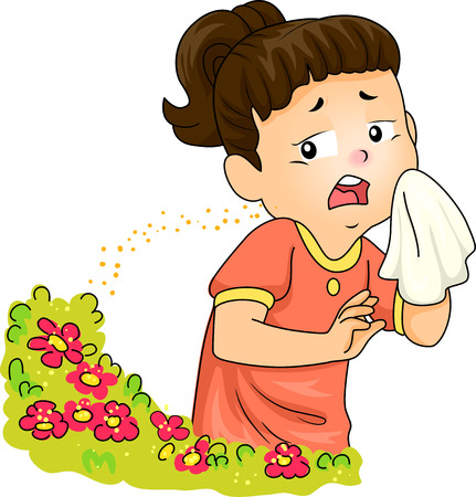 hay fever: Illustration of a Little Girl Sneezing After Being Exposed to Pollen