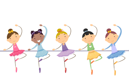 rehearsal: Illustration of Little Ballerinas Performing a Dance Routine