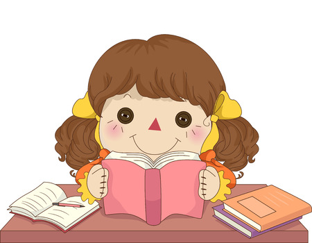 art book: Illustration of a Female Rag Doll Reading a Book