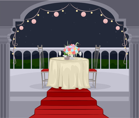 outdoor dining: Illustration of a Balcony Prepared for a Romantic Dinner Date