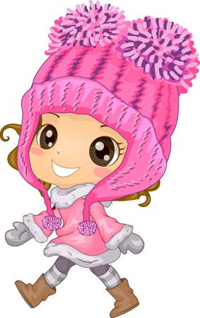 pom pom: Illustration of a Cute Little Girl Wearing a Pom Pom Hat