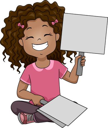 recitation: Illustration of a Grinning Girl Raising a Placard Stock Photo