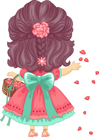 cartoon flower: Back View Illustration of a Little Girl Scattering Petals