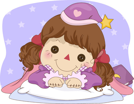 rag doll: Illustration of a Female Rag Doll in Pajamas Lying in Bed