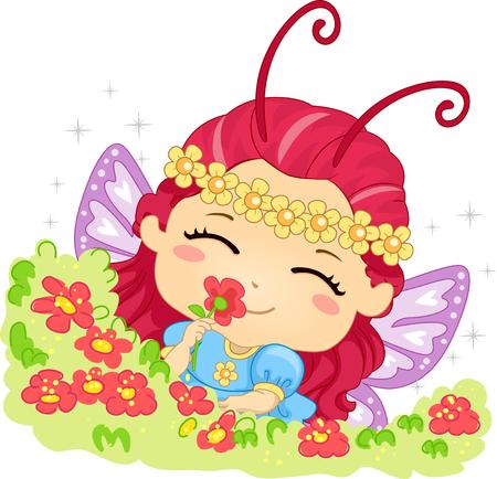 olfato: Ilustración de una niña oliendo las flores