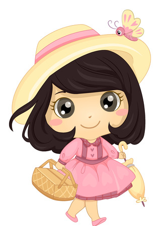 frilly: Illustration of a Little Girl in a Pink Dress Going to a Picnic