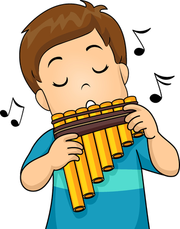 beat: Illustration of a Little Boy Playing with a Pan Flute