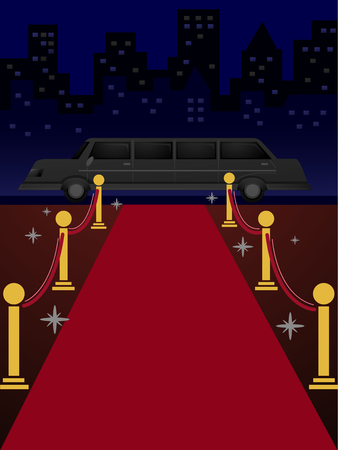 limo: Illustration of a Length of Red Carpet Leading to a Limousine