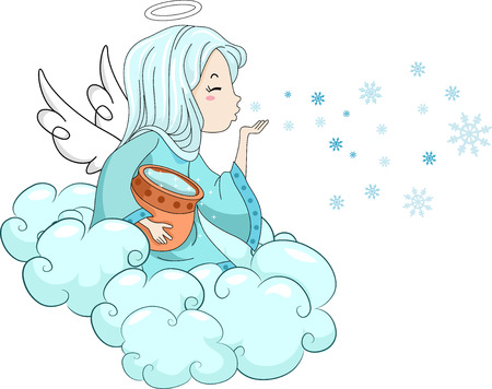 flying kiss: Illustration of a Snow Angel Blowing Icy Kisses