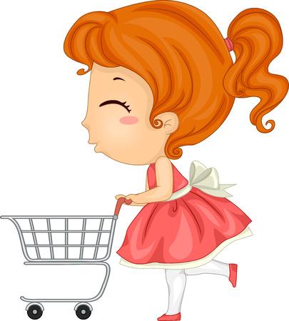 niño empujando: Ilustración de una niña que empuja un carro de la compra Foto de archivo
