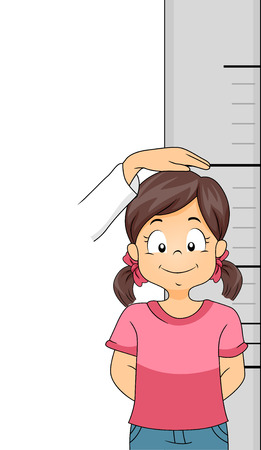 measured: Illustration of a Little Girl Getting Her Height Measured Stock Photo