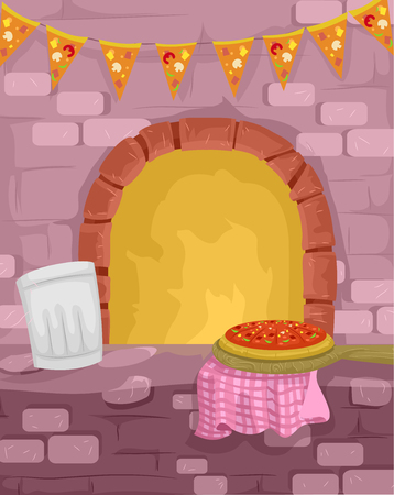 cooked: Illustration of a Pizza Being Cooked in a Traditional Furnace Stock Photo