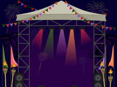 strobe lights: Illustration of a Beach Stage with Fireworks in the Background