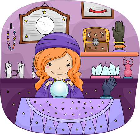 Illustration of a Little Gypsy Girl Using a Crystal Ball Stock Photo