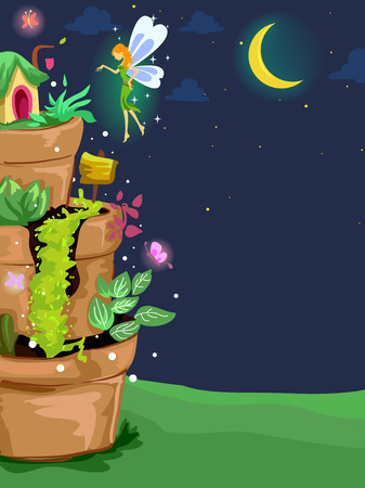 land plant: Background Illustration of a Fairy Sprinkling Magical Dust on a Miniature Garden