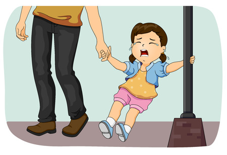brat: Illustration of a Father Pulling His Crying Daughter Away Stock Photo