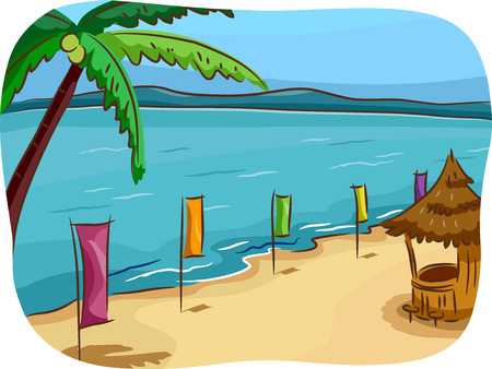 lined up: Illustration of a Tropical Beach Lined Up With Colorful Banners Stock Photo