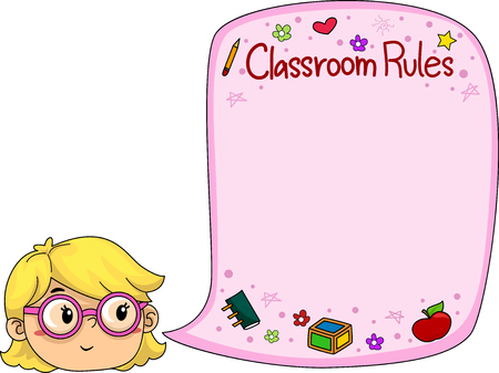 rules: Illustration of a Little Girl Presenting Classroom Rules